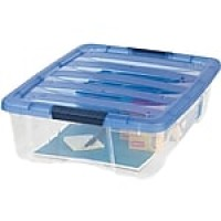 "IRIS® 26.9 Quart Stack & Pull Modular Box, Clear with Navy Lid, 6.5""H x 16.5""W x 22.0""L"