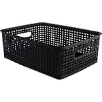 Advantus Weave Plastic Bin, Black, Each