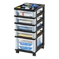 IRIS® Plastic 5-Drawer Organizer, Black and Clear (116865)