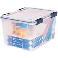 Iris® Ultimate Plastic File Box, Clear, 46.6 Quart
