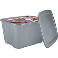 Bella Storage Solution® 18 Gallon Plastic Flat Lid Tote, Silver