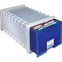 Storex Plastic Archive Storage Drawer, Frost/Indigo (61104U01C)