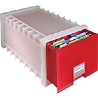 Storex Archive Storage Drawer, Frost/Ruby Red (61105U01C)