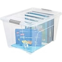 "IRIS® 54 Quart Stack & Pull Modular Box, Clear with Clear Lid, 13.0""H x 16.5""W x 22.0""L"