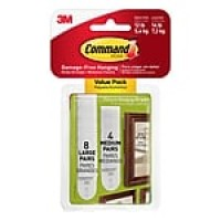 Command™ Medium and Large Picture Hanging Strips, White, 8 Large and 4 Medium/Pack (17209-ES)