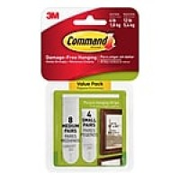 Command™ Small and Medium Picture Hanging Strips, White, 8 Medium and 4 Small/Pack (17203-ES)