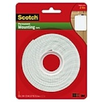 "Scotch® Double-Sided Heavy Duty Mounting Tape, Heavy Duty, 1"" x 3 yds., White (112L)"