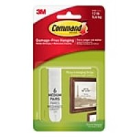 Command™ Medium Picture Hanging Strips, White, 6/pack (17204ES)