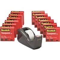 Scotch® Transparent Tape with C60 Dispenser, Black, 12/Rolls (600K-C60)