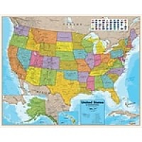 "Round World Products Laminated United States Map, 38"" x 48"""