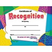 "Trend Enterprises© Certificate of Recognition Award, Assorted Colors, 8 1/2""H x 11""W, 30/Pk"