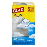 Glad Tall Kitchen Bags Drawstring Febreze Fresh Clean 13 Gallon