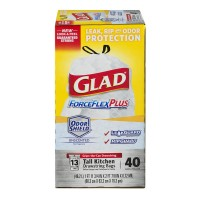 Glad ForceFlex Plus Tall Kitchen Bags Drawstring 13 Gallon