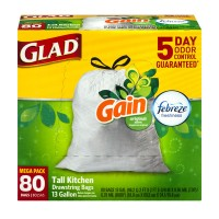 Glad Tall Kitchen Bags Drawstring Gain & Febreze Scent Original 13 Gallon
