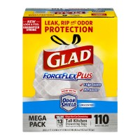 Glad ForceFlex Odor Shield Tall Kitchen Drawstring Bags Unscented 13 Gal