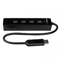 StarTech 4 Port Portable SuperSpeed External Mini USB 3.0 Hub With Built-in Cable, Black