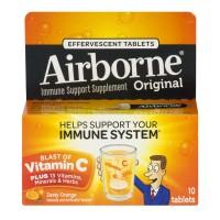 Airborne Immune Support Supplement Zesty Orange Effervescent Tablets