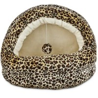 "Harmony Hooded Cave Cat Bed in Cheetah, 17"" L x 15"" W"