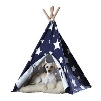"Merry Product Pet Teepee Blue with White Stars, 39.96""L X 39.96""W"