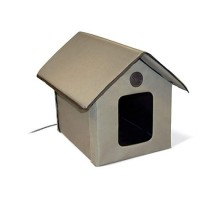 K&H Outdoor Heated Kitty Cat House in Olive