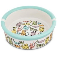 "Harmony Cat Town Ceramic Cat Bowl, 1.75"" H X 5"" Diameter, 1 Cup"