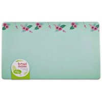"Bowlmates Pink and Teal Floral Pet Placemat, 20"" x 12"""