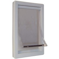 Perfect Pet Plastic Pet Door in White, 8.9375IN x 2.125IN x 14.875IN