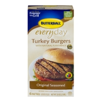 Butterball Everyday Turkey Burgers Original Seasoned Frozen - 6 ct