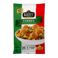 Cooked Perfect Turkey Meatballs Dinner Size Frozen