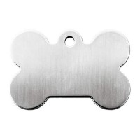 Quick-Tag Large Brushed Chrome Bone Personalized Engraved Pet ID Tag