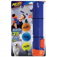 Nerf Gift Set Blaster & Three Squeak Tennis Balls Blue/Orange/Gray and Blue, Green and Orange Dog Toy, Small