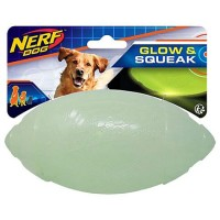 Nerf TPR Glow Classic Squeak Football Colorless Dog Toy, Large
