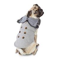 Modern Luxe Stone Herringbone Split-Hood Dog Jacket, X-Small