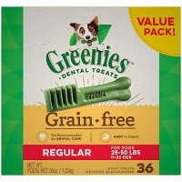 Greenies Grain Free Regular Dental Dog Treats, 36 oz., Count of 36