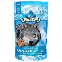 Blue Buffalo Blue Wilderness Denali Biscuits with Wild Salmon Venison & Halibut Grain-Free Natural Crunchy Dog Treats, 8 oz.