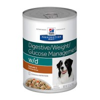 Hill's Prescription Diet w/d Digestive/Weight/Glucose Management Vegetable & Chicken Stew Canned Dog Food, 12.5 oz., Case of 12