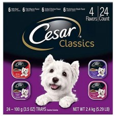 CESAR Canine Cuisine Club Variety Pack Dog Food Trays, 3.5 oz., Case of 24
