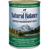 Natural Balance L.I.D. Limited Ingredient Diets Lamb & Brown Rice Formula Wet Dog Food, 13 oz., Case of 12