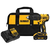 DEWALT 20-Volt MAX Lithium-Ion Cordless Brushless 1/2 in. Compact Hammer Drill w/ (1) Battery 3.0Ah, Charger & Tool Bag