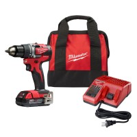 Milwaukee M18 18-Volt Lithium-Ion Compact Brushless Cordless 1/2 in. Drill/Driver Kit W/ (1) 2.0 Ah Battery, Charger & Tool Bag