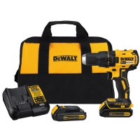 DEWALT 20-Volt MAX Lithium-Ion Cordless Brushless Compact 1/2 in. Drill Driver with (2) Batteries 1.3Ah, Charger and Tool Bag