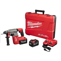 Milwaukee M18 FUEL 18-Volt Lithium-Ion Brushless Cordless 1 in. SDS-Plus Rotary Hammer Kit W/(2) 9.0Ah Batteries, Rapid Charger
