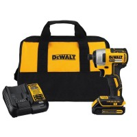 DEWALT 20-Volt MAX Lithium-Ion Cordless Brushless 1/4 in. Impact Driver Kit w/ (1) 20-Volt Battery 1.3 Ah, Charger & Tool Bag