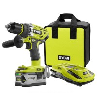 Ryobi 18-Volt ONE+ Lithium-Ion Brushless Cordless 1/2 in. Hammer Drill/Driver Kit with 4.0 Ah LITHIUM+ Battery Charger