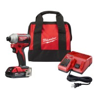 Milwaukee M18 18-Volt Lithium-Ion Compact Brushless Cordless 1/4 in. Impact Driver Kit W/ (1) 2.0 Ah Battery, Charger & Tool Bag