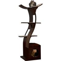 "The Refined Feline Lotus Tower Cat Tree in Espresso, 69"" H"
