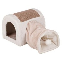 "Trixie Ladina Cuddly Cave with Tunnel Grey Cat Furniture, 12.6"" H"