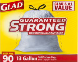 Glad Guaranteed Strong Tall Kitchen Bags Drawstring 13 Gallon