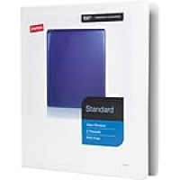 "Staples® Standard View Binder with D-Rings, White, 220 Sheet Capacity, 1"" Ring"