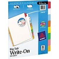 "Avery Write-On Big Tab Dividers, Multicolor, 8 1/2"" x 11"", 8 Tabs/Set (23079)"